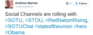 #RedNationRising was a TOP hashtag during Blue Dem Obama's SOTU
