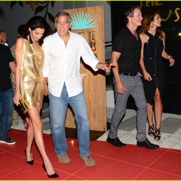 """**USA ONLY** Ibiza, Spain - George Clooney seems to be in good company as he is seen at the red carpet launch of his tequila brand """"Casamigos"""", along with wife, Amal Aladdin and good friends Cindy Crawford and Rande Gerber. George and Rande co-founded the brand and were busy promoting their tequila line while in Ibiza. AKM-GSI August 23, 2015 **USA ONLY** To License These Photos, Please Contact : Steve Ginsburg (310) 505-8447 (323) 423-9397 steve@akmgsi.com sales@akmgsi.com or Maria Buda (917) 242-1505 mbuda@akmgsi.com ginsburgspalyinc@gmail.com"""
