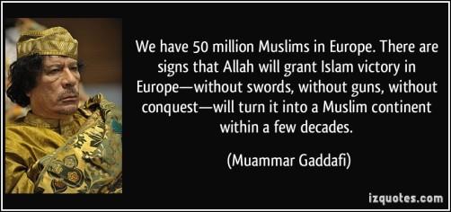 Qaddafi Muslims Europe