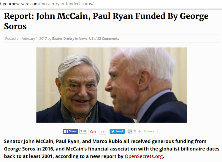 SOROS w PUPPET TRAITOR McCAIN - he ALSO FUNDS PAUL RYAN, MARCO RUBIO + LEFT-WING as well