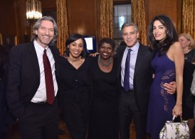 NEW YORK, NY - MARCH 10: (L-R) John Prendergast, Sia Sanneh, Gwen Ifill, George Clooney and Amal Clooney attend The 100 LIVES initiative, to express gratitude to the individuals and institutions whose heroic actions saved Armenian lives during the Genocide 100 years ago, on March 10, 2015 in New York City. The program, led by Ruben Vardanyan, Vartan Gregorian and Noubar Afeyan, establishes the Aurora Prize for Awakening Humanity as a means to empower modern-day saviors. During the event, the group reiterated the need to combat genocide and advance human rights efforts. (Photo by Mike Coppola/Getty Images for 100 LIVES)