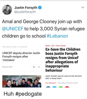Clooney UNICEF Justin Forsyth Resigns