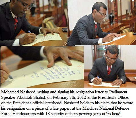 nasheed writing resignation letter (7 Feb 12) at PO